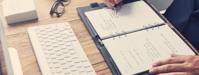 Lawyer Hands Schedule Notebook Concept