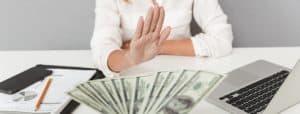 Close up portrait of hand holding cash