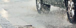 Heavy rain in the city