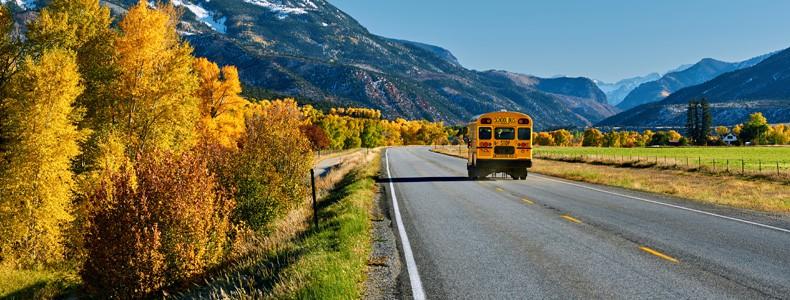 School bus on highway