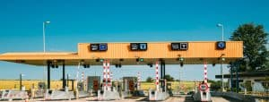 Cars Passing Through The Automatic Point Of Payment On A Toll