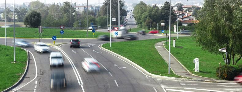 Cars speeding in the city