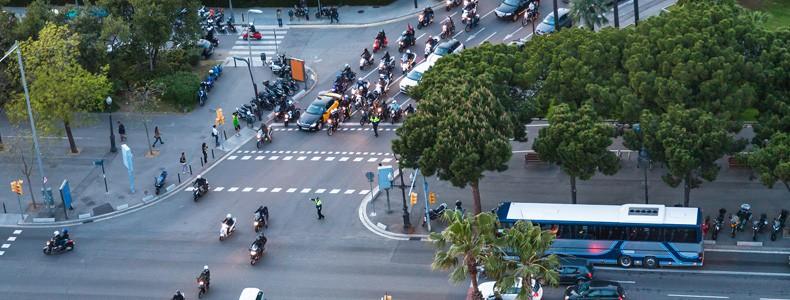 Car traffic on crossroad